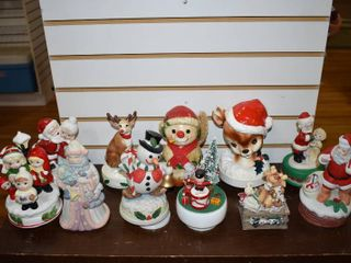 Vintage lot of 11 Christmas Music Box Collection   Gorham  Nice Corp etc