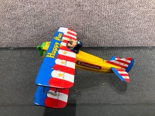 Vintage Japan litho Champion Bi plane Battery Operated 1960 s   Tin   10