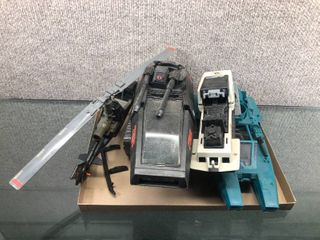 lot of Vintage GI Joe Toy Vehicles Snowmobile  Cobra Tank  Speedboat   Missing some pieces  See photos