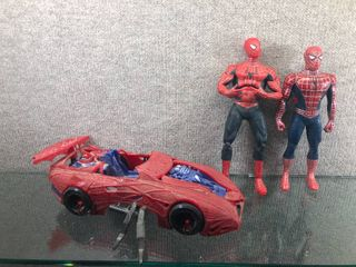 Vintage lot of 3 Marvel Spiderman Dolls   Car 1993   Marvel   Bendable doll    Dolls 12  Car 16  long
