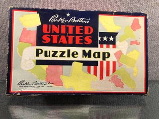 Vintage United States Puzzle Map Complete Original Box   Parker Brothers   Copyright 1915