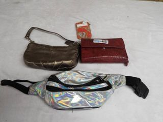 lot with fanny pack  hand held purse  small arm purse and small wallet