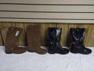 2  pairs of girls boot s both size 4