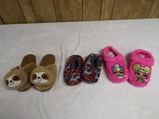 3 pair of slippers different size s
