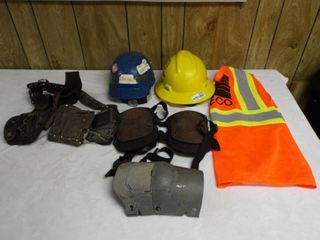 lot with 2  hard hat s  safety vest  worker belt  worker knee pad s