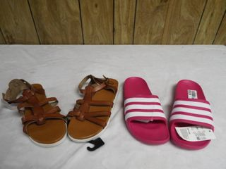 1  Pair of girl s addidas slide s size 5 and a pair of girls non marking sandle s size 5  both new with tag s