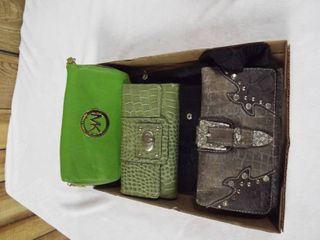 lot of various wallets and a small purse