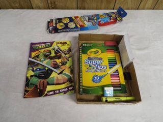 lot with kite  ninja turtle coloring book  index card s  super tip marker s  and eraser s