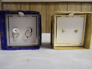 2  pair of kid s 10KT  gold heart shaped earring s and 10KT  gold hoop earrings with heart on it