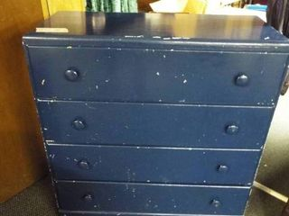 Wooden blue 4 drawer dresser  33 5  W  14  D  37  T