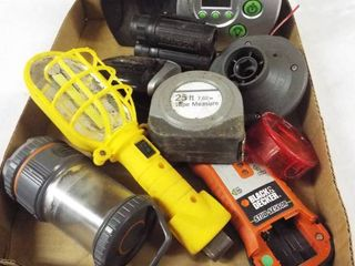 lot with air pump  tape measure  black and decker stud sensor  energizer battery charger and more