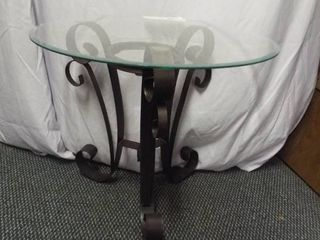Glass top metal bar side table  20  T  22  round