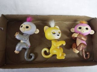 3 fingerling toy s  2 monkey s and 1 cat