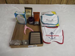 lot with 2 bib s  vase  dog nail clipper s  NutriMen shave gel and more