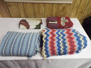 lot with 2 crocheted blanket s  1 fleece blanket and another blanket