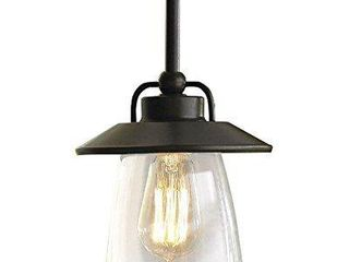 allen   roth Bristow Mission Bronze Traditional Clear Glass Globe Pendant light RETAIl 64 98