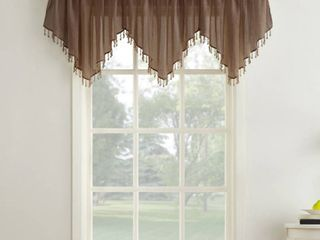 Erica Crushed Sheer Voile Beaded Ascot Curtain Valance Chocolate 51 x24    No  918