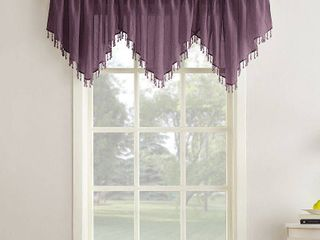 24 x51  Erica Crushed Sheer Voile Beaded Ascot Curtain Valance Purple   No  918