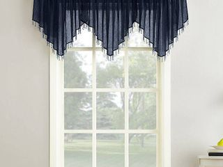 24 x51  Erica Crushed Sheer Voile Beaded Ascot Curtain Valance Navy   No  918