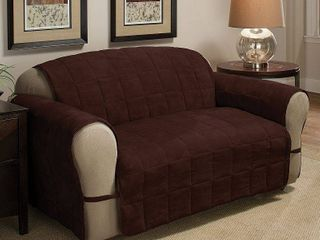 Innovative Textile Solutions 1 Piece Ultimate Faux Suede loveseat Furniture Cover Slipcover  Chocolate