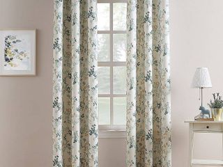 63 x48  Hariette Floral Print Casual Textured Grommet Top Curtain Panel Blue   No  918