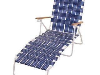 RIO Brands Outdoor Steel Folding Web Chaise Beach lawn Pool lounge Chair  Blue