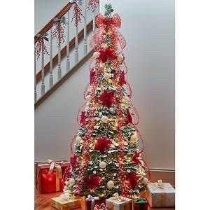 6  Flocked Pointsettia Pop Up Pre lit Pre Decorated Tree