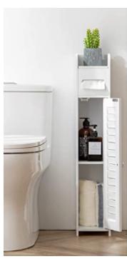 HuiDao Bathroom Floor Cabinet Wooden Corner Cabinet Toilet Seat Side Organizer
