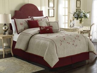 Chezmoi Collection Miki 7 piece luxury Red Cherry Blossoms Floral Embroidery Bedding Comforter Set