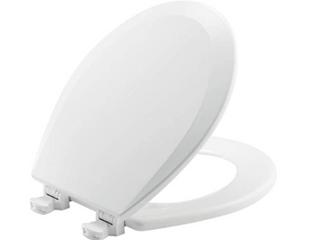 White Round Toilet Seat with Hardware   Wood