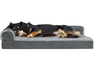 FurHaven Pet Dog Bed Deluxe Orthopedic Faux Fur   Suede l Shaped Chaise Couch Pet Bed for Dogs   Cats  Stone Gray  Medium