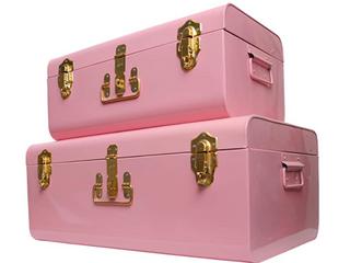 Zanzer Storage Trunks Space Saving Organizer Vintage Style Gold Clasp 2 Set Pink