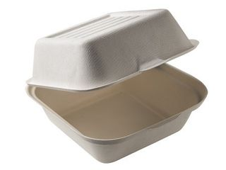 BioGreenChoice Compostable Fiber Bagasse Take out Containers 6x6x3 Burger Box   BGC 101