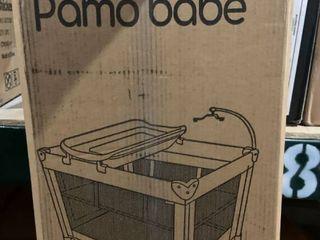 Pamo Babe   Portable Crib Play Pen   Black Gray