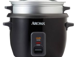 Aroma Rice Cooker   Steam Tray 6  Cup   Black