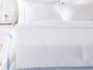 Amazon Basics Ribbon Embellished Comforter   Dusty Blue   Full Queen