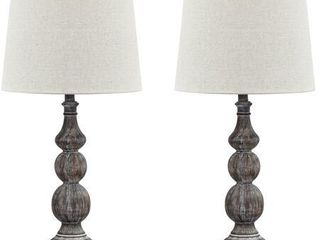 Signature Design by Ashley Mair Antique Black 29  Poly Table lamp   Set of 2
