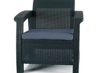 Keter 205068 Charcoal Corfu Armchair Outdoor Patio Garden Furniture  Grey