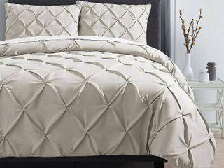 VCNY Home Carmen 3 Piece Pintuck Textured Bedding Duvet Cover Set with Shams