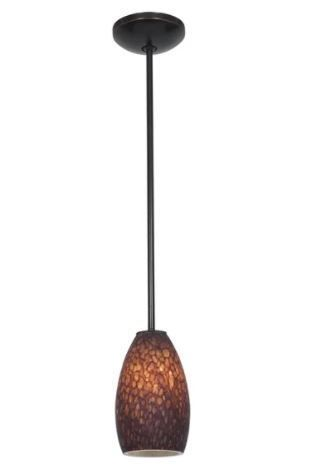 Access lighting Champagne Bronze Integrated lED Rod Pendant  Brown Stone Shade