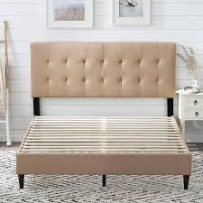 Copper Grove Ayrum Upholstered Bed Frame with Square Tufted Headboard  Retail 232 49 cream queen