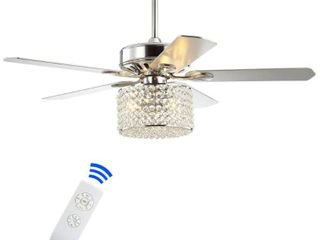Brandy 52  3 light Crystal Prism Drum lED Ceiling Fan With Remote  Chrome by JONATHAN Y