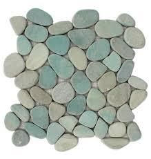 Interlocking Green Flat Indonesia Pebble Tiles  11 Pack  Kitchen  Bathroom  and Patio Flooring  Indoor and Outdoor  Retail 87 99