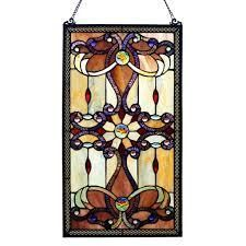 River of Goods Brandi s Amber Stained Glass 26 inch Window Panel   M  Retail 135 49
