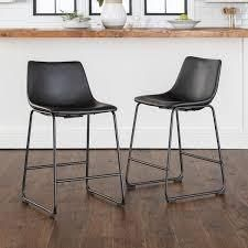 Carbon loft Prusiner Faux leather Counter Stool  Set of 2  Retail 173 49
