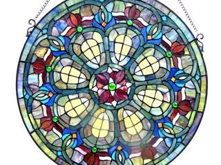 Chloe Tiffany Style Victorian Design Round Window Panel  Retail 241 49