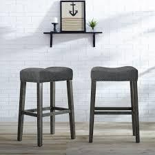 The Gray Barn Overlook Upholstered Backless Saddle Seat Bar Stool  Set of 2    Retail 119 49 grey