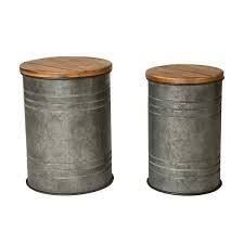 Glitzhome 19 H Farmhouse Galvanized Metal Nesting Storage Accent Table Set of 2   19 H 18 H  Retail 112 99