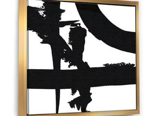 Designart  Black   White Crossing Paths I  Modern   Contemporary Framed Canvas   Black  Retail 102 49