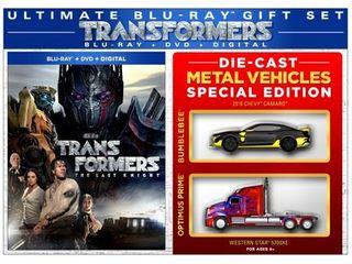 Transformers  The last Knight  Walmart Exclusive   Blu ray  DVD   Digital   2 Die Cast Metal Vehicles